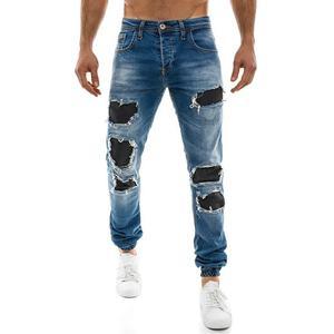 Dstreet Originální modré jogger kalhoty s ozdobným zipem (32 kousků ... 0c7ce914bc