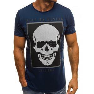 aa813e7e9ff Tmavě modré tričko s bohatým potiskem lebky OZONEE B 181382