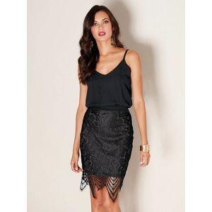 Večerní šaty s krajkovou sukní černá 42 obraz