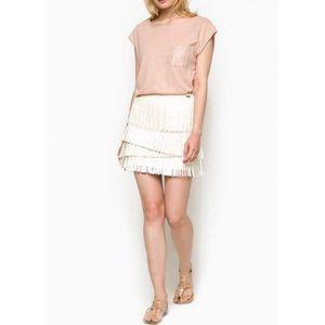 Pepe Jeans dámská smetanová sukně Fringe obraz