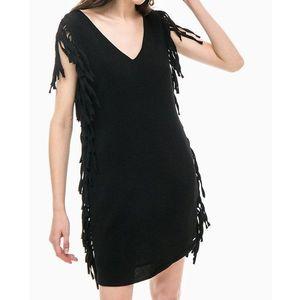 Pepe Jeans dámské černé šaty s třásněmi obraz