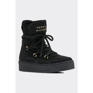 Tommy Hilfiger cosy kožené kotníkové boty s kožíškem- černé Velikost: 41 obraz