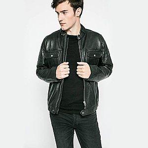 Pepe Jeans pánská černá kožená bunda Cinnamon obraz