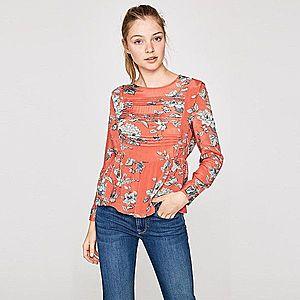Pepe Jeans dámská oranžová halenka s květy Loren obraz