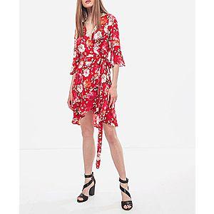 Guess dámské červené zavinovací šaty s květy obraz