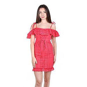 Růžové krajkové šaty obraz