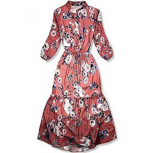 Květinové midi šaty cihlově červené obraz