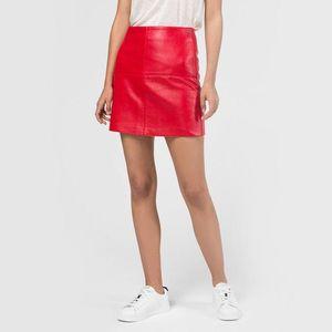 Pepe Jeans dámská červená koženková sukně Henar obraz