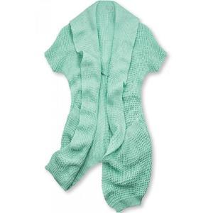 Mátově zelený asymetrický pletený kardigan obraz