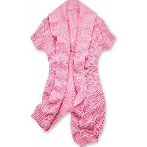 Růžový asymetrický pletený kardigan obraz