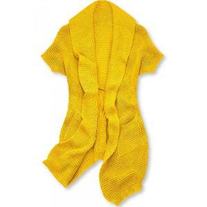 Žlutý asymetrický pletený kardigan obraz