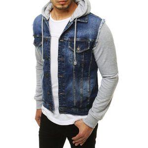 Modrá riflová bunda s kapucí obraz