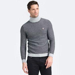 Guess pánský šedý svetr s rolákem obraz
