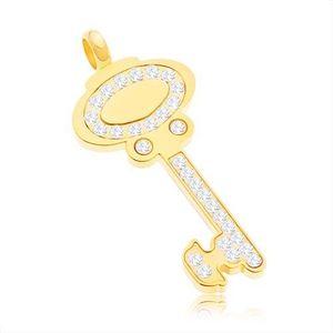 Přívěsek z chirurgické oceli - klíč zlaté barvy zdobený čirými zirkony obraz