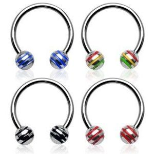 Piercing podkova kulička s barevnými proužky - Rozměr: 1, 6 mm x 12, 7 mm x 5 mm, Barva zirkonu: Červená - Žlutá - Zelená - JM obraz