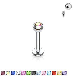 Labret tenký s kuličkovým zakončením se zirkonem 1, 2 mm - Rozměr: 1, 2 mm x 10 mm x 3 mm, Barva zirkonu: Červená - R obraz