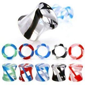 Plug do ucha sedlový, UV pyrex glass - Tloušťka : 5 mm, Barva piercing: Modrá - Červená obraz