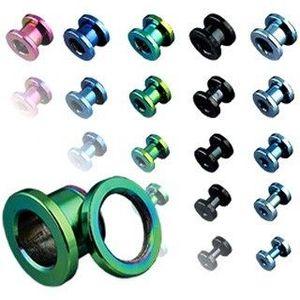 Tunel do ucha z titanu, anodizovaný, více barev se šroubováním - Tloušťka : 2 mm, Barva piercing: Světlá Modrá obraz