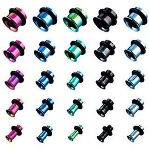 Piersing - tunel do ucha z titanu, anodizovaný, více barev s gumičkou - Tloušťka : 4 mm, Barva piercing: Fialová obraz