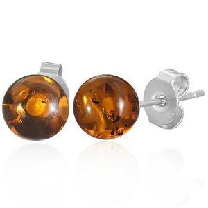 Ocelové puzetové náušnice - průhledné oranžové kuličky obraz