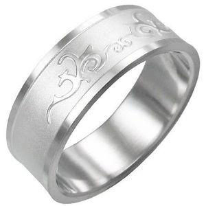 Prsten z chirurgické oceli - lesklý ornament - Velikost: 64 obraz
