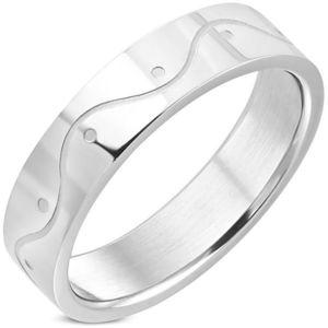 Prsten z chirurgické oceli - vlnka - Velikost: 54 obraz