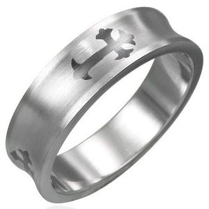 Prsten z chirurgické oceli - kříž - Velikost: 54 obraz