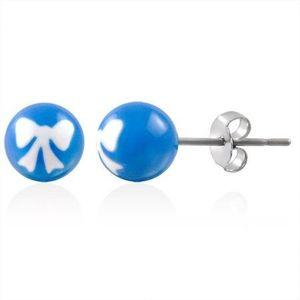 Ocelové náušnice kuličky s pentličkou modré obraz