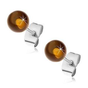 Puzetové ocelové náušnice, poloprůhledné žlutohnědé kuličky, 6 mm obraz