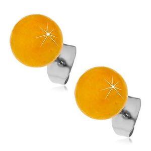 Ocelové puzetové náušnice, žlutooranžové kuličky, 8 mm obraz
