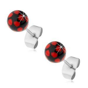 Ocelové náušnice, černo-červené kuličky, puzetové zapínání obraz