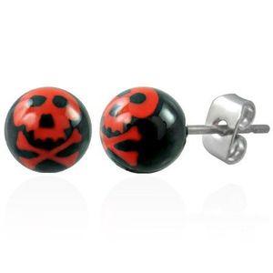 Ocelové náušnice, černé kuličky - červená lebka obraz
