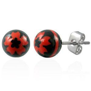 Ocelové náušnice černé kuličky - znak červený květ obraz