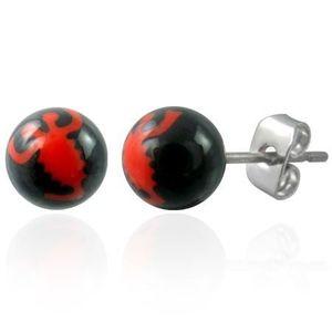 Náušnice z oceli černé kuličky - znak červený škorpión obraz
