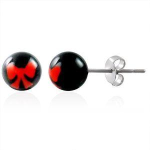Ocelové náušnice kuličky - znak mašlička obraz