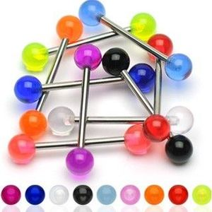 Piercing činka - Barbell UV koule - Barva piercing: Čirá obraz