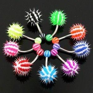 Barevný piercing do pupíku - ježek - Barva piercing: Modrá obraz
