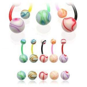 Piercing do pupíku barevná koule - Barva piercing: Černá obraz