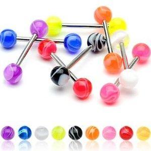 Piercing do jazyka barevná kulička - Barva piercing: Fialová obraz