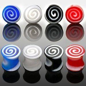 Plug do ucha - barevné spirály - Tloušťka : 3, 5 mm, Barva piercing: Červená obraz
