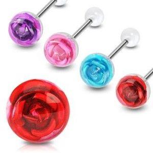 Piercing do jazyka růže - Barva piercing: Fialová obraz