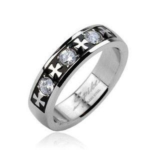 Ocelový prsten - tři zirkony a kříže - Velikost: 59 obraz