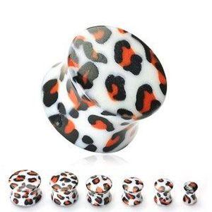 Plug do ucha bílý, vzor leopard - Tloušťka : 14 mm obraz