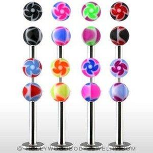 Labret - barevné kuličky s ornamentem spirály - Barva piercing: Modrá - Červená obraz