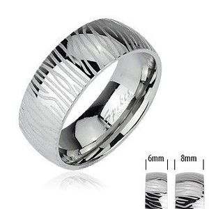 Ocelový prsten - vzor zebra - Velikost: 51 obraz