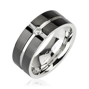 Ocelový prsten - vzor kříž, zirkon uprostřed - Velikost: 59 obraz