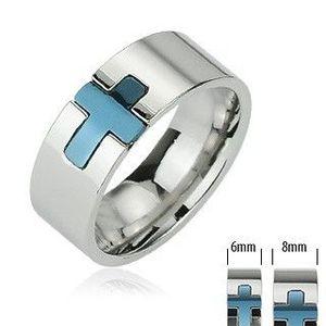 Ocelový prsten - modrý kříž - Velikost: 59 obraz