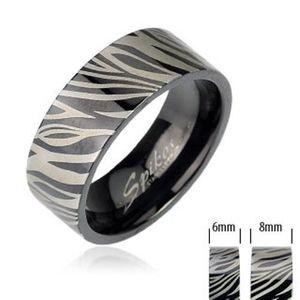 Ocelový prsten - černá zebra - Velikost: 52 obraz