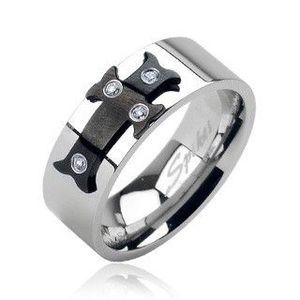 Ocelový prsten černý kříž, zirkony - Velikost: 59 obraz