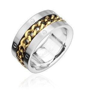 Prsten z oceli s pozlaceným řetězem - Velikost: 58 obraz